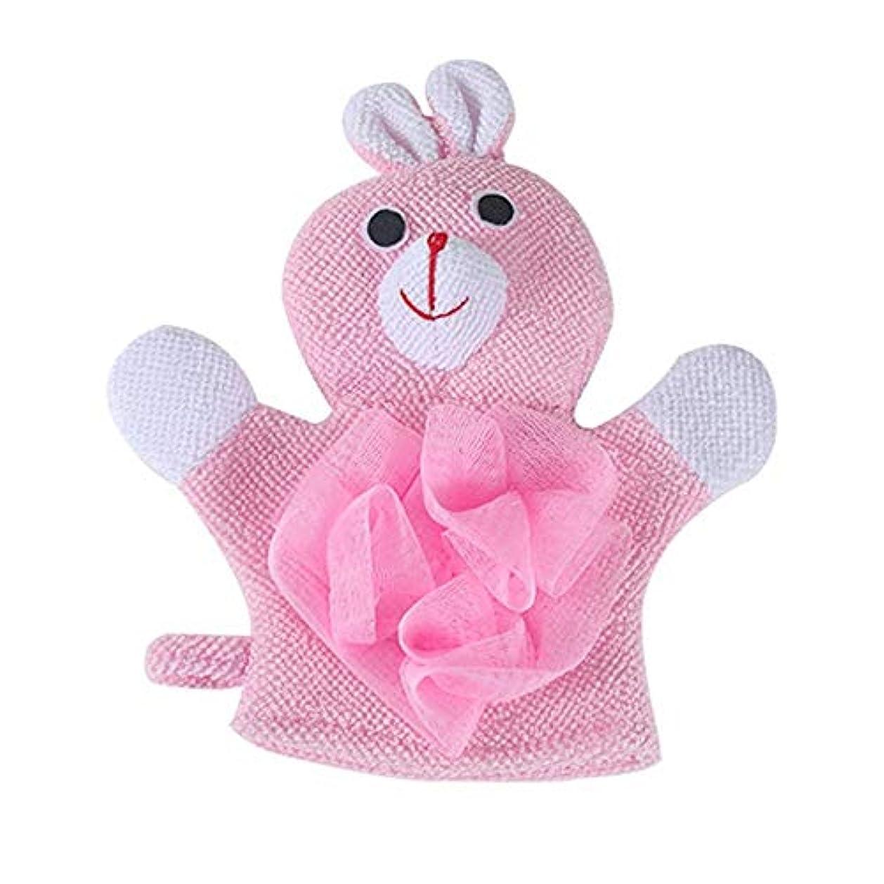 マトリックス確かなソフトウェアBTXXYJP お風呂用手袋 あかすり シャワー手袋 ボディブラシ やわらか バス用品 ボディタオル 角質除去 (Color : Pink)