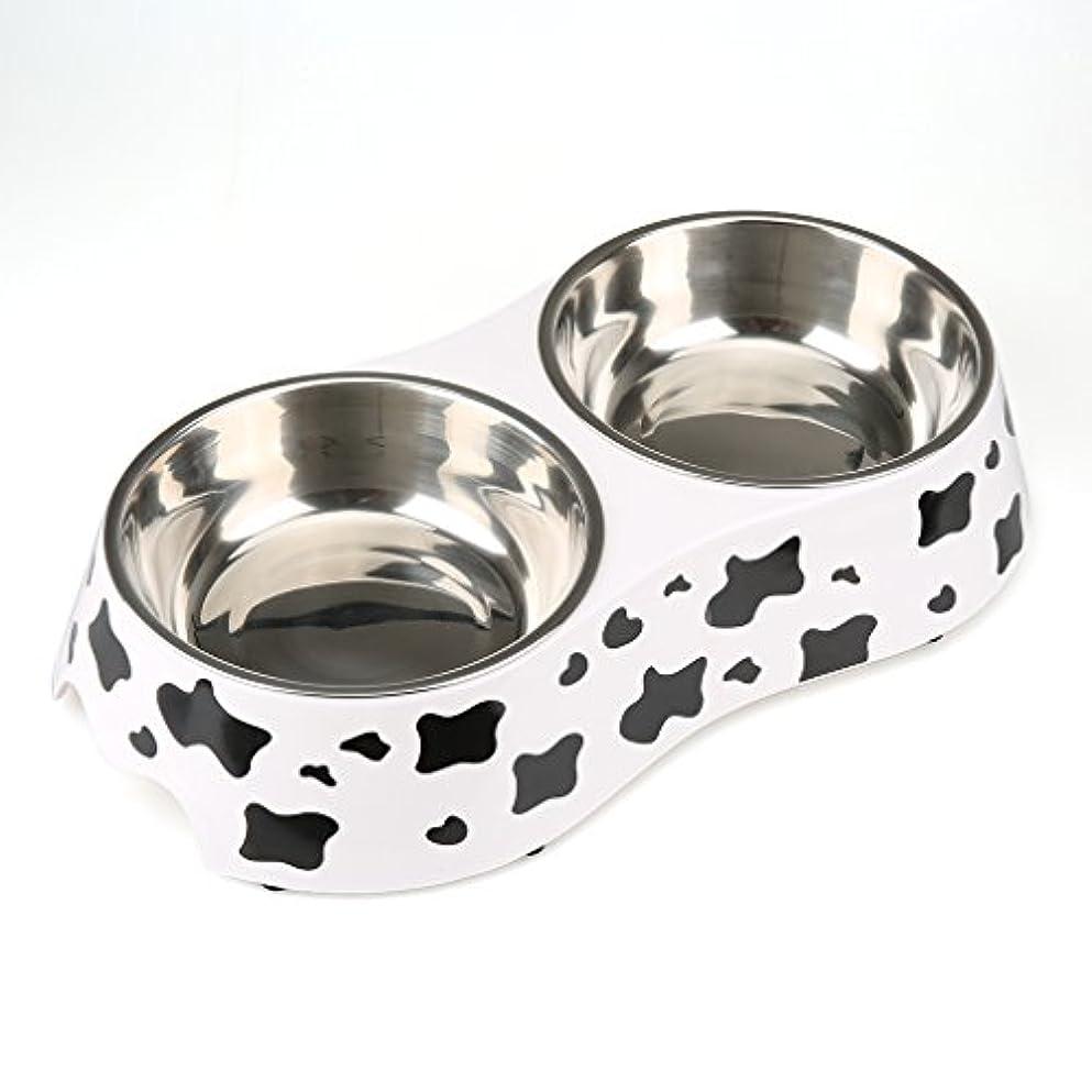 KINLO ペット食器 犬猫用ボウル ステンレス製ペット皿 滑り止め付き フードボウル ウォーターボウル 取り外し可能 ペットディッシュ 食事用 給水器 給餌器 M サイズ ホワイト