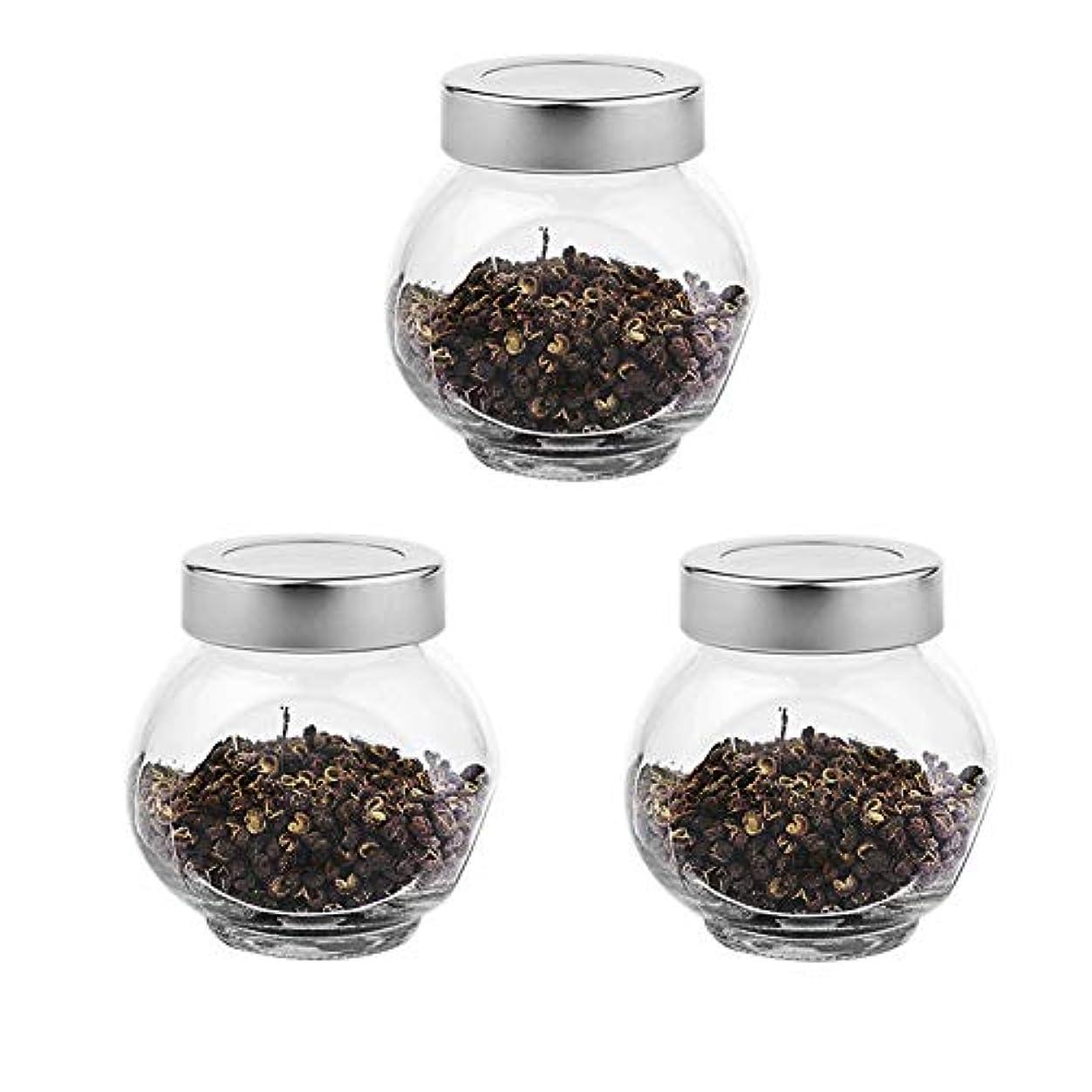 つかむ積極的にゴシップ3つの透明ガラス貯蔵容器茶/季節封印缶(200 ml)の貯蔵ジャーパック