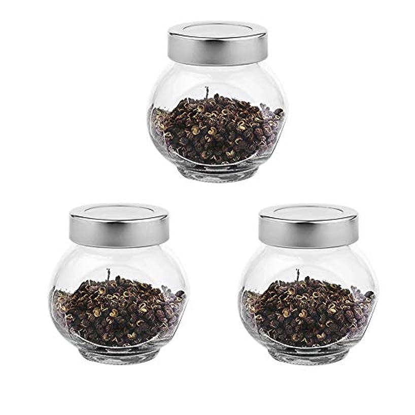 3つの透明ガラス貯蔵容器茶/季節封印缶(200 ml)の貯蔵ジャーパック