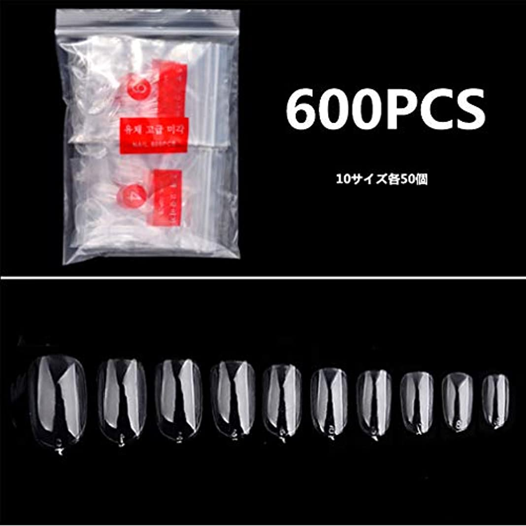 レクリエーションするだろう電気的IHOLLY 透明ネイルチップ 600枚入り 10種のサイズ ネイル用品 ネイル飾り デコレーション 無地 付け爪 オーバルフルカバー 透明 DIYネイル