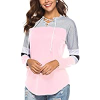 YOUCOO Women Tunic Blouse Long Sleeve Lace Up Tops Color Block Baseball T Shirt