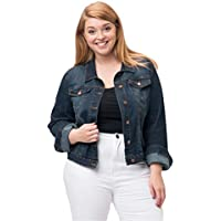 American Blue Women's Plus Size Denim Jackets - Classic Vintage Casual Stretch Button Down Cropped Jean Jacket Trucker