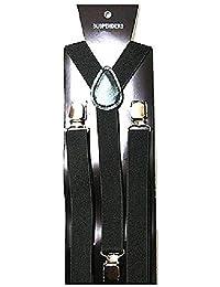 サスペンダー メンズ レディース レザー 皮 革 伸びる 脱着簡単 調整可能 キッズ 子供用も 2.5cm幅 お洒落 ビジネス 黒 赤 白 青 スーツ 冠婚葬祭 (ブラック)