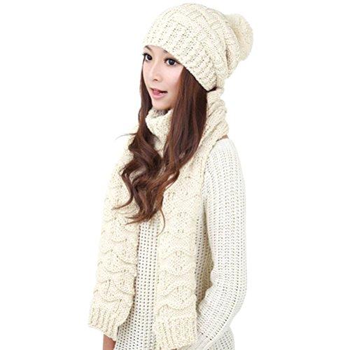Jelinda 無地 二点セット ポンポン ニット帽 マフラー コットンニット  秋冬 キュート スノボー (ホワイト)
