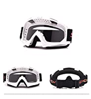 スキー用 ゴーグル アウトドア サンドプルーフ, ファッションサングラス (Color : White+clear)