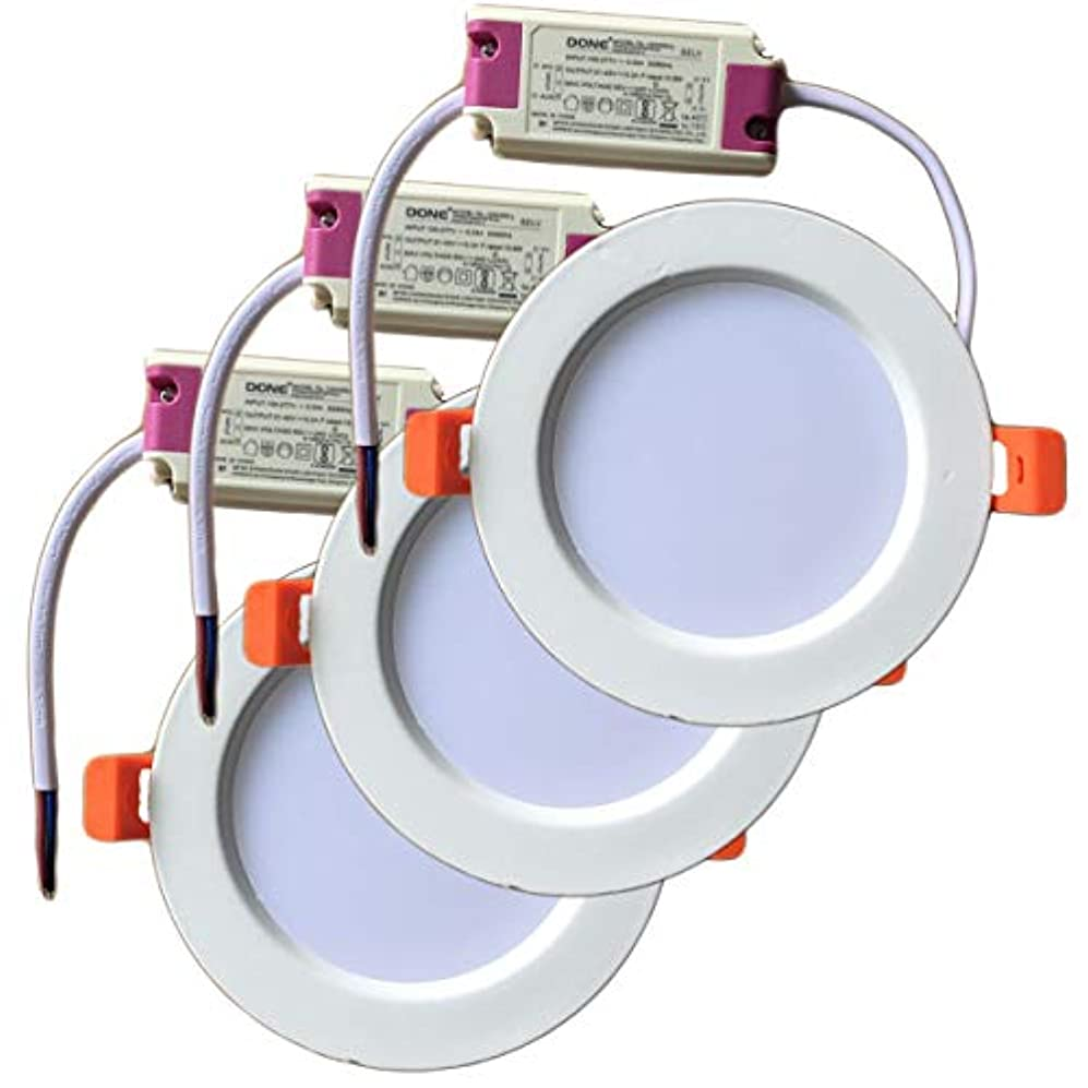 煩わしい引数静かなFwaytechLEDダウンライト φ100 9W 60W相当 開口100 AC100-240V調光器非対応 電源外付け 工事必要 照射角120度 密閉器具対応 3個セット (埋込穴φ100mm, 昼白色相当(5000K))