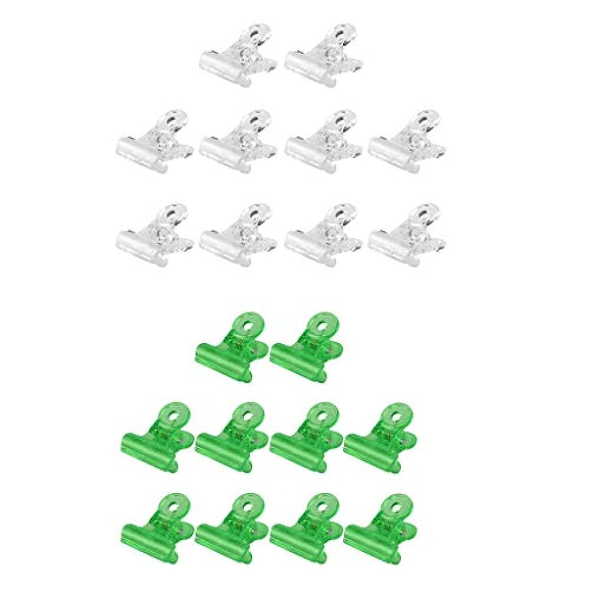 仮装各アシスタントPerfeclan ネイルクリップ オフ ジェルネイルポリッシュ クリーナークリップ 再利用可能 20個セット 全3種 - グリーン+クリア