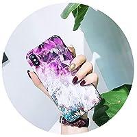 iphone 7 8 6 XR XS XSマックスケースのための紫色の水晶大理石の電話箱iphone x 7plus capaカバーのための光沢のある柔らかいTPU coque,Purple 1,For iphone 7