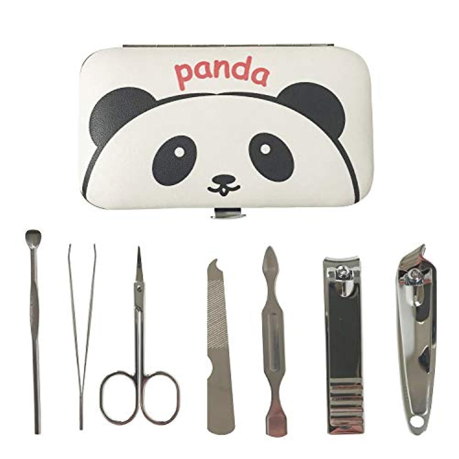 使い込むみがきますどういたしましてネイルケアセット ケース付き 多機能 ステンレス製 爪切り ネイルクリーナー 爪ヤスリ 耳かき 眉毛抜き 眉毛はさみ パンダ柄