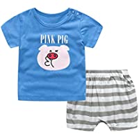ACVIP Baby Toddler Kindergarden Boy's Piggy Print Pullover T-Shirt Stripes Shorts Separates Set