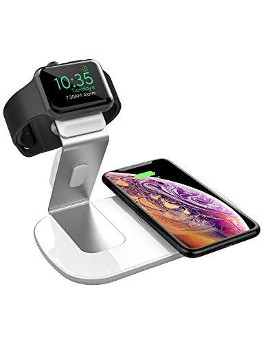 2in1 Qi ワイヤレス充電器 Apple Watch対応 アップルウォッチ同時充電 Seneo WaveMat136 7.5W/10W/5W 急速充電 Airpods 2/iPhone XS/XS Max/XR/X/8/8 Plus、Galaxy S9/S9+/S8/S8+ その他Qi対応機種 充電スタンド アルミニウム合金製 日本語取説