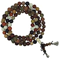The Bo Tree Mixed Wood Brown White Black Red 108 Japa Mala Beads 8mm Buddhist Hindu Meditation Buddha Yoga Rosary