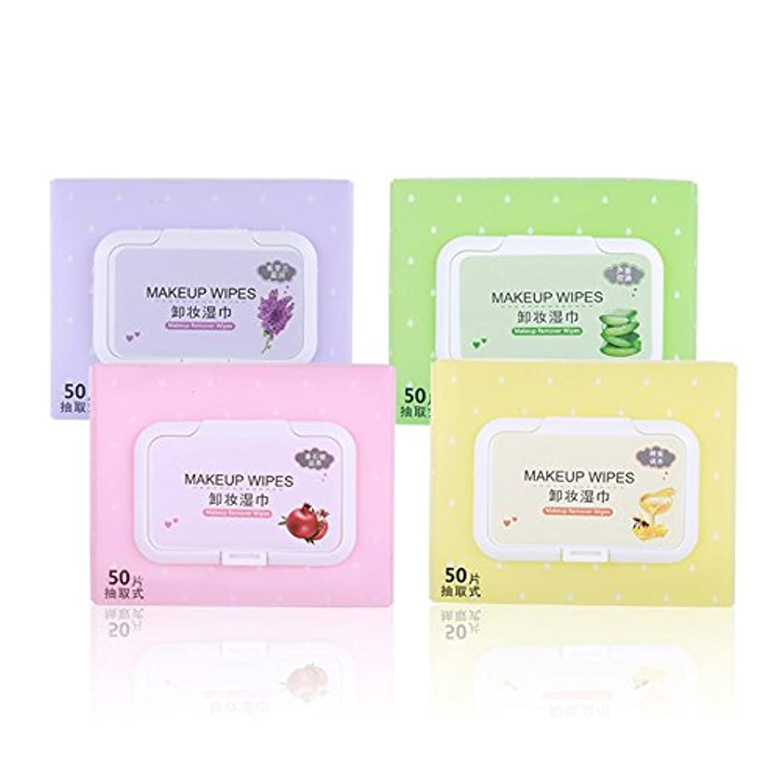 50 pcs/pack Beauty Non-Woven Fabric Makeup Remover Wipes Four Kinds Scent Comfortable Face Makeup Remover Pads...