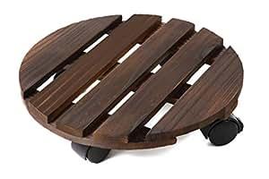 植木鉢台 鉢置台 花台 木製 キャスター付き ストッパー機能付 (直径30㎝ ダークブラウン) ccr