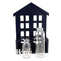 FLAMEER ガラス 花瓶 プランターポット フラワーベース 多肉植物 工花に最適 デコレーション 4種類 - 青