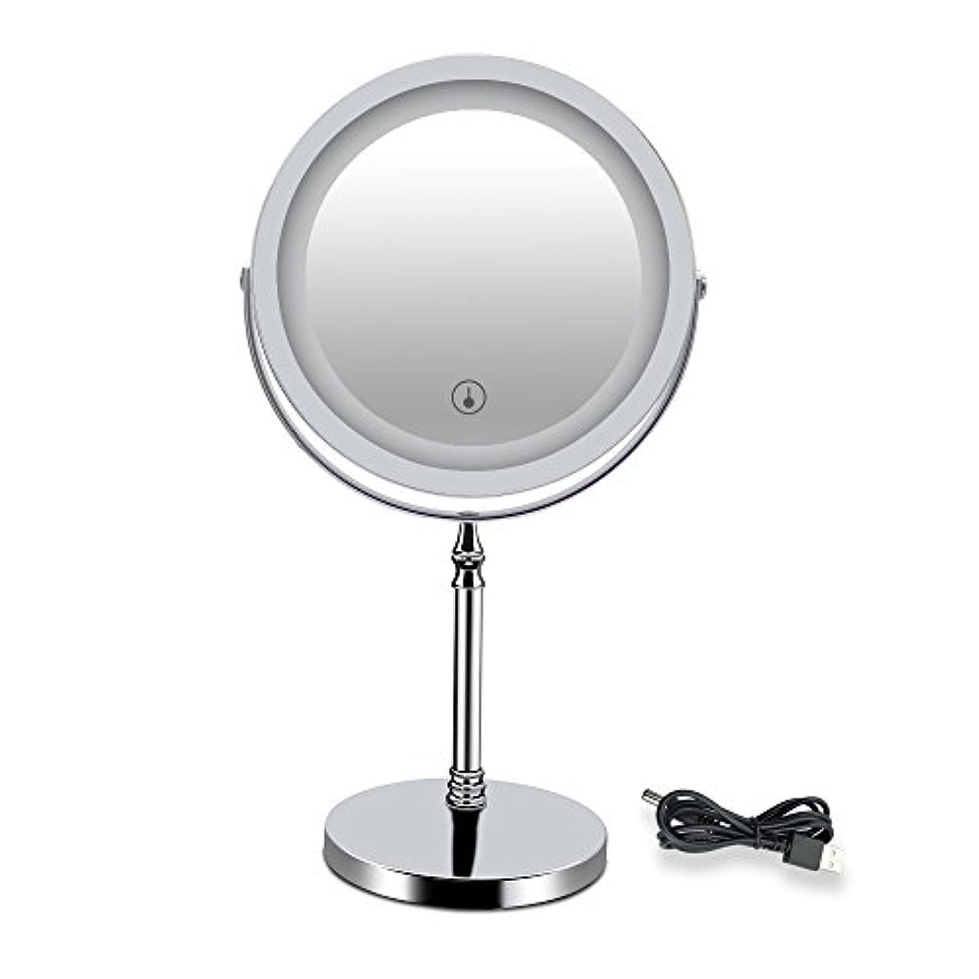 世界的にちらつき精緻化LED付きミラー 両面型 化粧鏡 卓上鏡 メイク 女優ミラー 三色調光 明るさ調節可 真実の北欧風卓上鏡DX 10倍拡大率 360度回転 USB給電/充電 タッチスイッチ付き 収納 ホワイト 1個入り