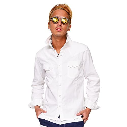 (ハイクオリティプロダクト)High quality product デニムシャツ 7分袖 メンズ 半袖 長袖 ウォッシュ加工 ウエスタンシャツ L ホワイト(長袖)