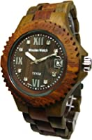 Tense Wood Mens Watch Two - Tone Date Time Hypoallergenic g4100gsローマ数字RNDF Dark Face