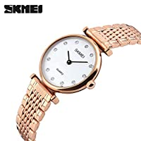QTMIAO ファッション時計美しい時計, WATCHビジネスファッション女性の時計防水スチールベルト女性の時計シンプルで絶妙なダイヤモンドレディースクォーツ時計 (Color : 4)