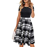 Lyrur Women's Casual A Line Short Sleeves Sundress Buttons Floral Contrast Swing Cocktail Party Dress with Pockets