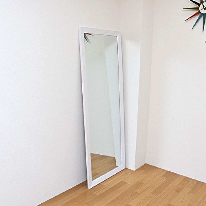 スカート寄生虫増強するジャンボミラー 立て掛けタイプ 幅66cm×高さ166cm[ホワイト?白]/転倒防止金具付属 大きい鏡 大型姿見