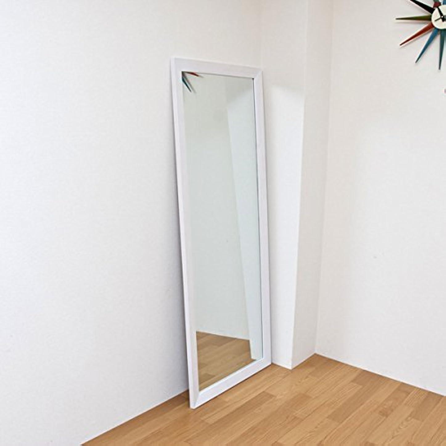 くしゃくしゃフィクション差ジャンボミラー 立て掛けタイプ 幅66cm×高さ166cm[ホワイト?白]/転倒防止金具付属 大きい鏡 大型姿見