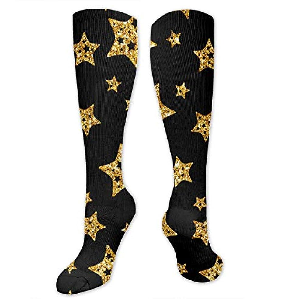 つかまえる呼ぶオーケストラqrriy黒と金の星- 3 D抗菌アスレチックソックス圧縮靴下クルーソックスロングスポーツ膝ハイソックス少年少女キッズ幼児