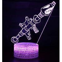 Fortnite 3Dビジュアル LEDナイトライト 平面ランプ 3D立体感 夜灯 スタンドライト 装飾ランプ 7種の色 USB給電 (Rocket Bomb)