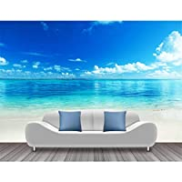 Ljjlm 海ビーチ写真の壁紙青空白い雲壁壁画ステッカーリビングルームの壁紙3D自己接着壁紙-160X120CM