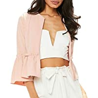 Janisramone Womens Ladies New Ruffle Frill Bell Sleeve Plain Peplum Blazer Office Jacket Crop Open Front Coat