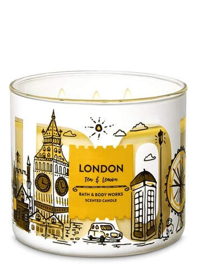 厄介な速記グリーンバック【Bath&Body Works/バス&ボディワークス】 アロマキャンドル ティー&レモン 3-Wick Scented Candle London Tea & Lemon 14.5oz/411g [並行輸入品]