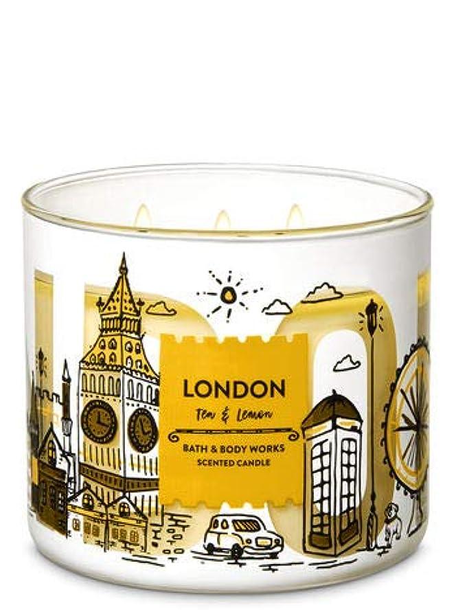 溢れんばかりの広げるのり【Bath&Body Works/バス&ボディワークス】 アロマキャンドル ティー&レモン 3-Wick Scented Candle London Tea & Lemon 14.5oz/411g [並行輸入品]