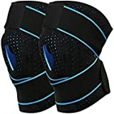 Knee Compression Fit Supports, One Pair INKERSCOOP Sports Knee Brace Support Breathable Knee Protector with Dual Side Stabilizers & Open Patella, Non-Slip Fits for Arthritis, Sport, Running
