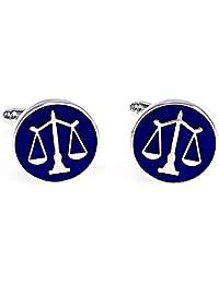 MRCUFF Law Scales of Justice Attorney Lawyer Pair Cufflinks in Presentation Gift Box & Polishing Cloth