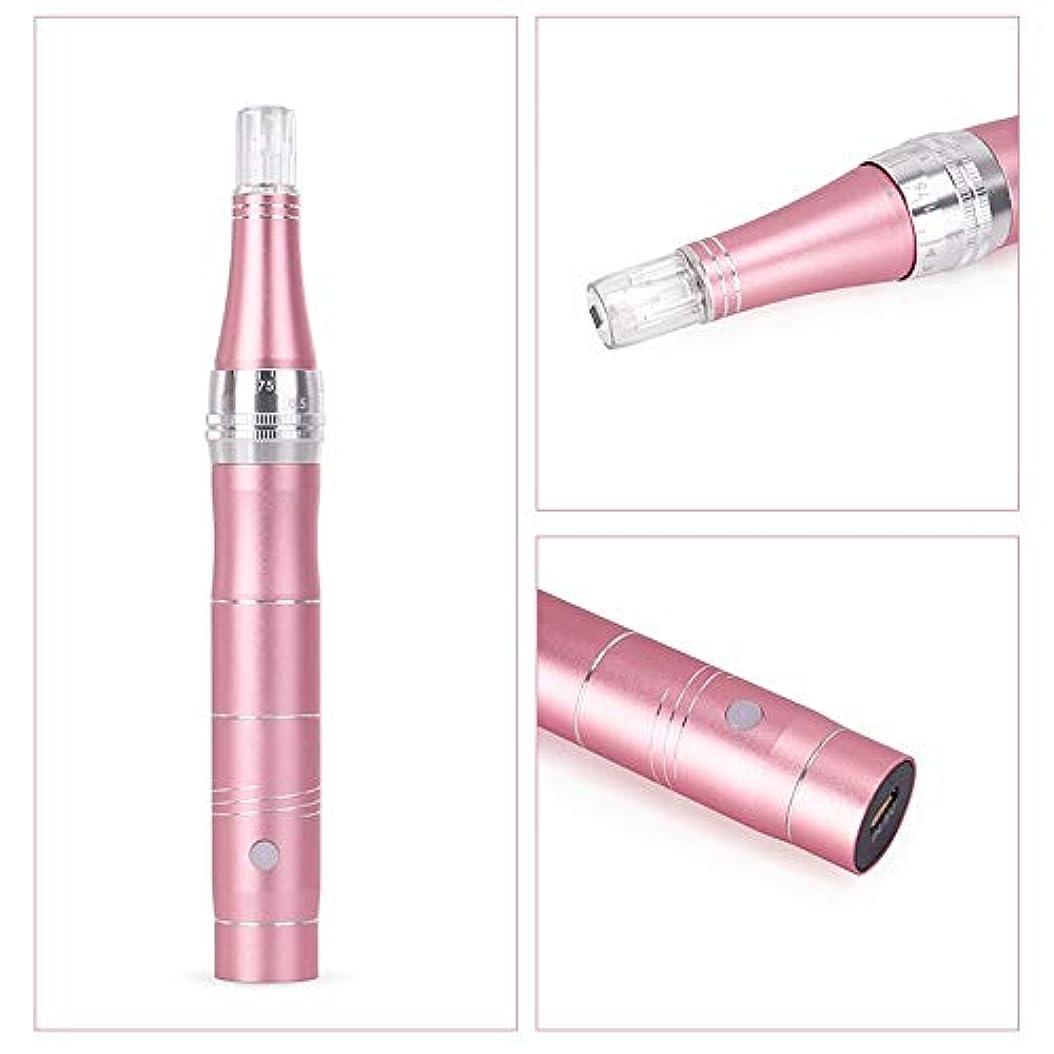 スタジオひらめき貼り直すペン美容機器?エレクトリックアンチエイジングスキン治療装置のしわ、肌引き締め、肌の再生がくまを排除リンクルストレッチマークスカー抜け毛つや消し材料 (Color : Rose gold)