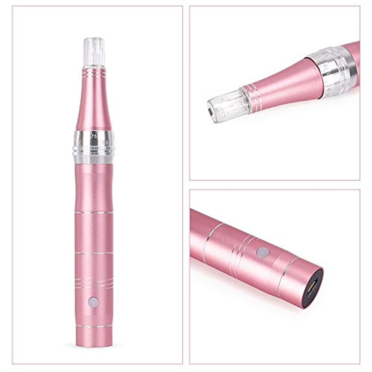 ハウジング消毒剤炭素ペン美容機器?エレクトリックアンチエイジングスキン治療装置のしわ、肌引き締め、肌の再生がくまを排除リンクルストレッチマークスカー抜け毛つや消し材料 (Color : Rose gold)