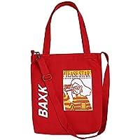 Has Many Uses Female Cartoon Canvas Shoulder Bag Simple File Shopping Handbag Red