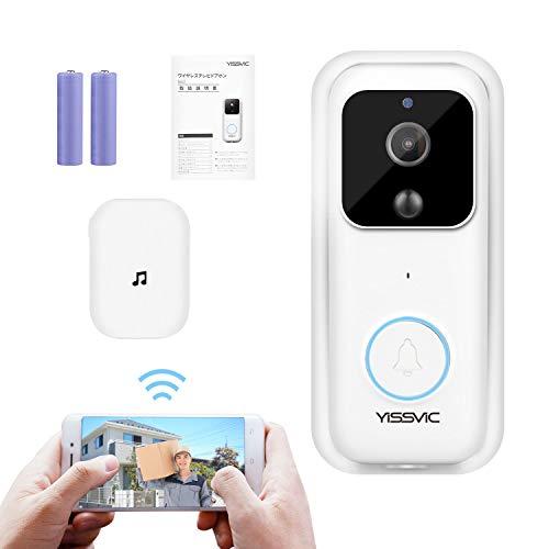 YISSVIC ドアホン インターホン1080P ワイヤレスチャイム 52種類の音声 4階段の音量 充電式 双方向音声 暗視撮影 microSDカード対応 取扱説明書付き