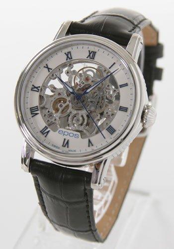 腕時計 エモーション スケルトン レザー ブラック/ホワイト ブルーローマン 3390SKRWH メンズ エポス