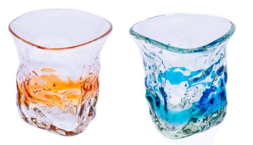 三角でこぼこグラス2個セット(オレンジ・水)
