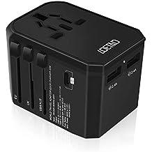 LOETAD Travel Adapter Universal USB Charger 33W PD Quick Charge 3.0 Type C Worldwide Use with Double Fuse AU US EU UK Plug