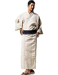 メンズ浴衣 紳士しじら浴衣帯付  ワンタッチ帯 2点セット