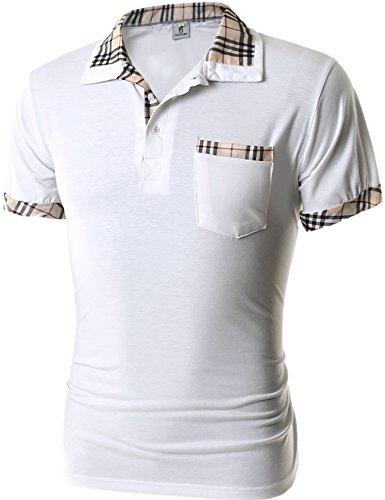 グラストア(Glestore)メンズ 半袖 ポロシャツ お洒落な重ね着スタイル チェックポロシャツ カジュアル シンプル 無地 スキニー ファッション カッコイイ スポーツウェア ゴルフウェア 快適 多色選択 ホワイト XXL