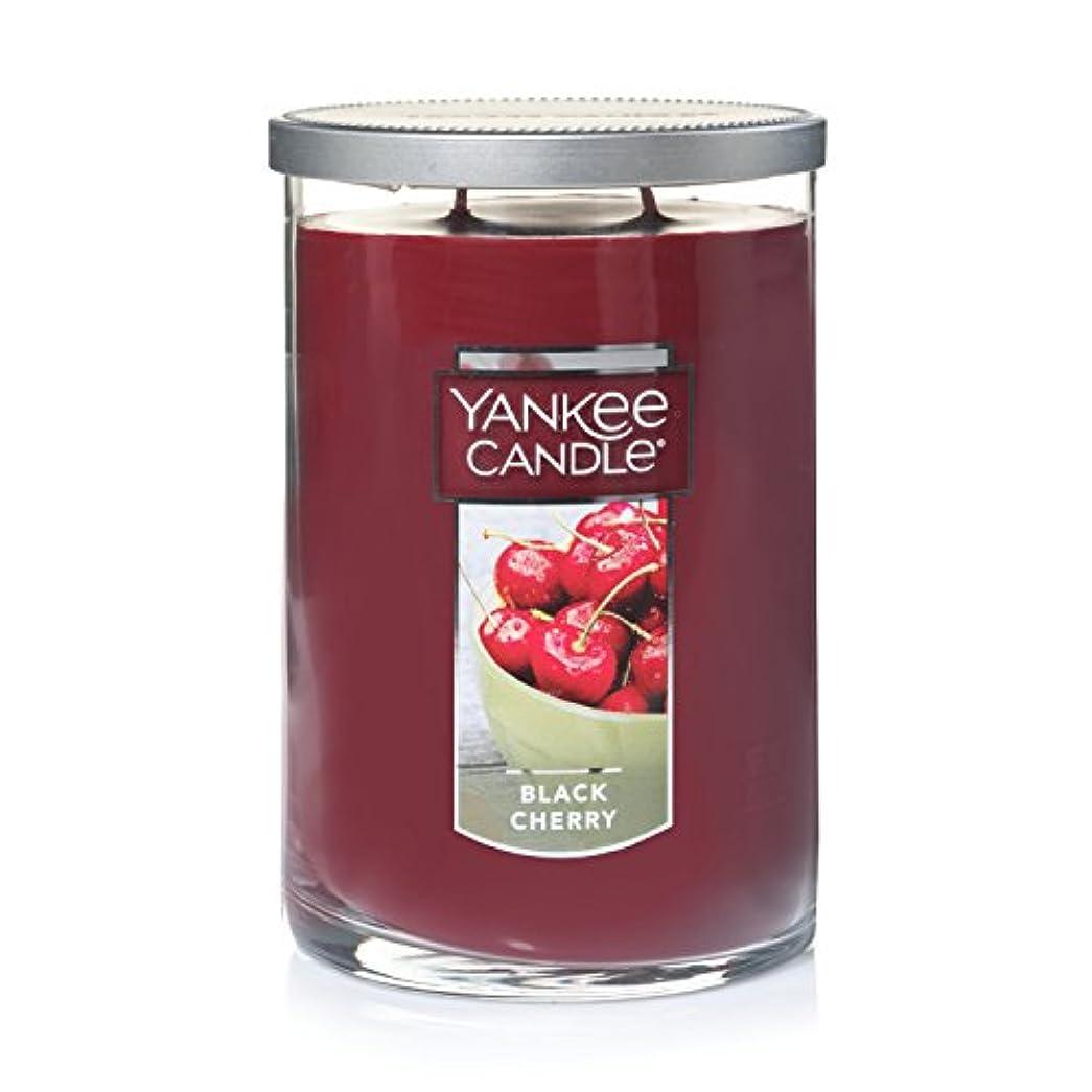 リボンエントリ上がるYankee Candleブラックチェリー、フルーツ香り Large 2-Wick Tumbler Candle ブラック 1129747-YC
