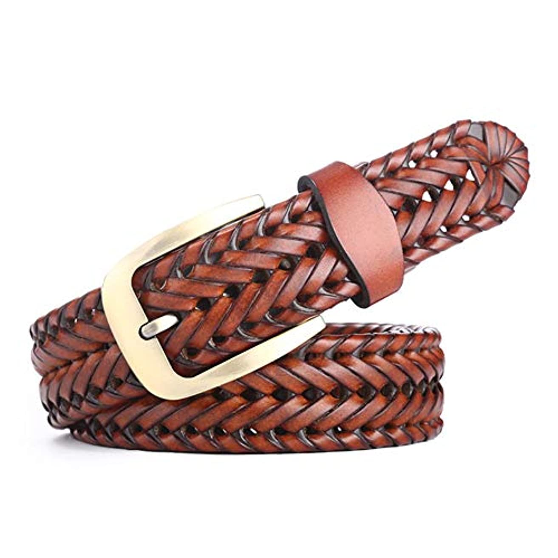 押し下げる疫病レギュラー編組ベルト、新しいユニセックスハンドメイドベルト、ファッションワイルドレトロベルト、ジーンズベルト、幅3.5cm、長さ115cm-brown
