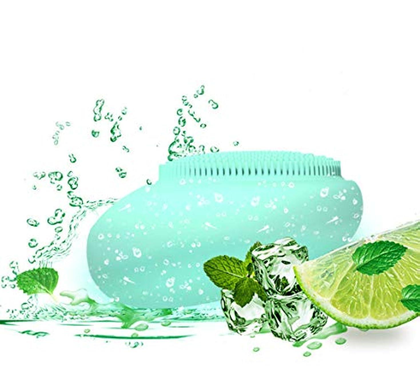 インディカ他のバンドでスラム洗顔ブラシシリコン、電動クリーニングブラシ-肌のクレンジングに役立ちます-クレンジングブラシ-すべての肌タイプの角質除去クレンジングブラシ-(緑)
