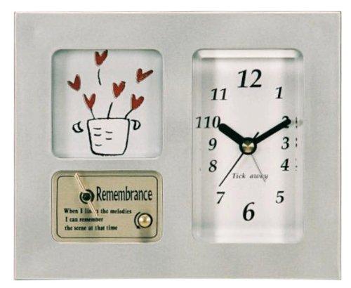 いけだ オルゴール・時計付フォトフレーム サウンドアラームク...