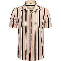 URRU Men's Fashion Short Sleeve Regular Fit Button Down Shirt Casual Vertical Striped Dress Shirt S-XXL