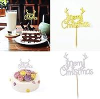 40個入り ケーキ飾りセッ 木製スティック カップケーキピック パーティー クリスマスパーティー飾り (Merry Christmas) DIY